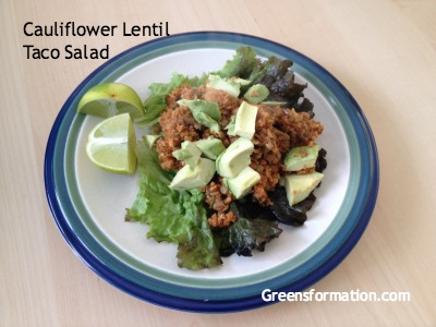 Cauliflower Lentil Taco Salad